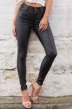 Slim Leather High Waist Leggings Capris Pants