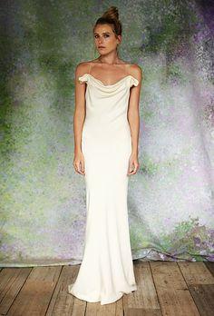 """The Chloe"" silk crepe bias-cut wedding dress with cowl neckline, Savannah Miller for Stone Fox Bride"