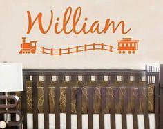 Wall Decal Trains Personalized Name Children Boys Vinyl Sticker Word Art Lettering Bluestreak Decals
