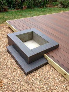 Modern Platform Deck and Fire Pit Design by @Creative Revisions http://www.creative-revisions.com #hardwoodfloor #tile #deck #backyard #homedesign #modern #retro #homedecor