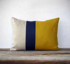 As seen in HGTV Magazine - Color Block Pillow in Mustard Yellow, Navy and Natural Linen by JillianReneDecor Modern Home Decor Honey Gold. $45.00, via Etsy.