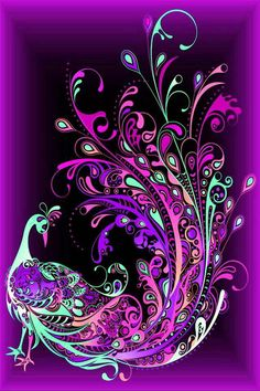 By Artist Unknown. Purple Peacock, Peacock Art, Purple Love, All Things Purple, Shades Of Purple, Deep Purple, Peacock Images, Purple Art, Purple Stuff