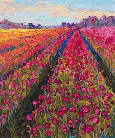 """Flower Fields"", Canvas Print by Erin Hanson. You do not need to travel all the . ""Flower Fields"", Canvas Print by Erin Hanson. You do not need to travel all the way to Europe to discover wide sweep Art Aquarelle, Art Watercolor, Inspiration Art, Art Inspo, Landscape Art, Landscape Paintings, Spring Landscape, Landscape Illustration, Landscape Photography"