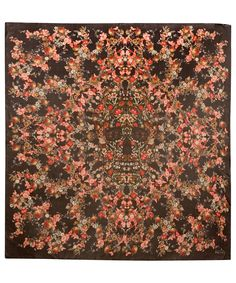 Alexander McQueen Black and Red Floral Silk Scarf | Scarves by Alexander McQueen | Liberty.co.uk