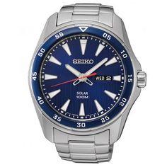 Herren Solar-Uhr mit blauem Zifferblatt und Edelstahlarmband.  https://www.uhrcenter.de/uhren/seiko/herrenuhren/seiko-herren-solaruhr-sne391p1/