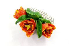 Handmade Hair Comb «Realistic Orange Tulip Flowers» - Romantic Hair Comb made from Polymer Clay - Not fragile - READY TO SHIP
