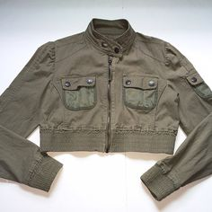 Military Style Olive Short Jacket Size large. Olive green. Cotton/spandex blend. Textured outer. Zip up style. Flap closure on the top. Great jacket Original Star Jeans Jackets & Coats