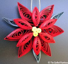 The Original Quilled Poinsettia Flower - Handmade Christmas Ornament. $9.99, via Etsy.