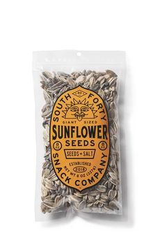 Giant-sized Sunflower seeds, perfectly roasted for an easy crack and simply seasoned with salt. Kosher, non-GMO, gluten free, paleo and keto friendly. Case of six resealable bags each bag). Seed Packaging, Pretty Packaging, Organic Packaging, Vintage Packaging, Product Packaging, Packaging Ideas, Giant Sunflower Seeds, Vintage Recipes, Packaging Design Inspiration