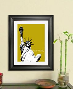 New York City Skyline Poster - Statue of Liberty Art Print, 8x10 - Choose your color. $20.00, via Etsy.