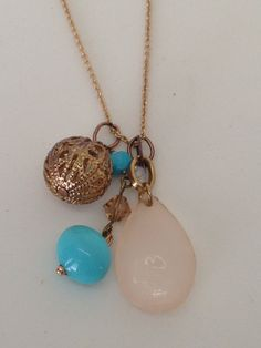 Gold tone custom made turquoise necklace by Bestowed Beads. Great to pair with your jeans or dress it up along side a stunning summer maxi dress.