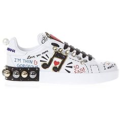 Music Printed Leather Sneakers With Patch ($905) ❤ liked on Polyvore featuring shoes, sneakers, white, leather sneakers, leather upper shoes, white sneakers, dolce gabbana sneakers and white leather shoes
