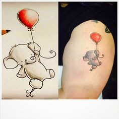 This tattoo design idea is for people who love animal especially elephant. Elephant tattoos are very popular now. Small Rib Tattoos, Small Tattoos For Guys, Trendy Tattoos, Tattoo Small, Cute Elephant Tattoo, Elephant Tattoo Design, Small Elephant Tattoos, Baby Elefant Tattoo, Elephant Balloon