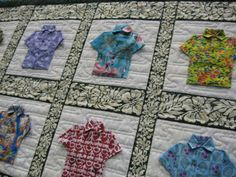 Hawaiian shirt quilt Look what we found...Aloha Shirt pattern by beyondthereefpatterns.com!  Lovely.