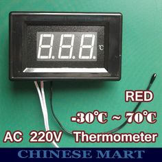 Digital Thermometer AC Panel Meter Red LED Digital Meter LED Thermometers Degree to 70 Degree Sensor Thermometer Green Led, Digital Thermometer, Led Panel, Digital Alarm Clock, Display, Car, Event Posters, Red, Floor Space