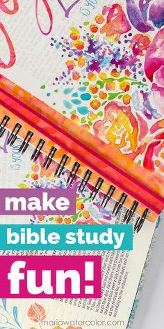 Make Bible Study Fun! http://www.mariawatercolor.com/home/2016/5/22/make-bible-study-fun Do a topical word study in a fun sketch journal! prayer journal, Bible Journaling, Bible Study, faith journal