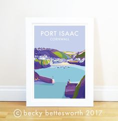 Port Isaac travel poster and seaside print by Becky Bettesworth - BeckyBettesworth - 1 Modern Country Bedrooms, Port Isaac, Travel Posters, Seaside, A4, Illustration, Artist, Birthday Ideas, Bedroom Ideas