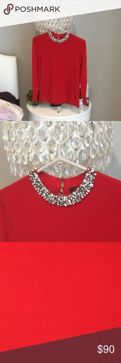 💃🏻 Gorgeous crystal collar top❣worn once❗️ Gorgeous crystal collar Ann Taylor sweater top❣worn once over the holidays. Beautiful cherry red color. 🍒 fits true to size. Originally bought for $125. Truly worn only once for a few hours (as seen in my profile pic). Great reviews. 😊 The price is firm! Ann Taylor Tops