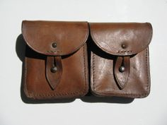 Vintage Brown Leather Cellphone Industrial Pouch by ruckit on Etsy, $22.00