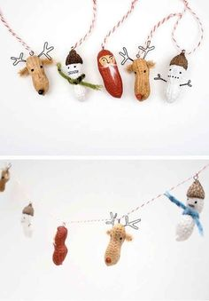 Adornos de Navidad con cáscaras de cacahuetes