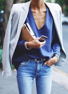 blazer // ripped jeans //structured top