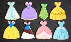 Disney Princess Dress Cookies - The Royal Icing Queen - Elsa, Rupunzel, Tinker… Cookies For Kids, Fancy Cookies, Iced Cookies, Cut Out Cookies, Cupcake Cookies, Sugar Cookies, Disney Princess Cookies, Crown Cookies, Sugar Cookie Royal Icing