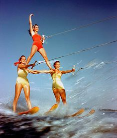 Three Girl Water Skiing Pyramid - Public Domain Vintage and Retro Photographs, Drawings, Illustrations and Posters. Cypress Gardens Florida, Jump The Shark, Ski Nautique, Panama, Vintage Swimsuits, Vintage Florida, Thing 1, Bathing Beauties, Bikini