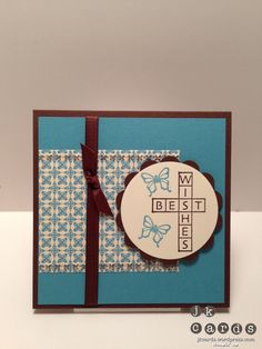 Stampin' Up!, Mojo 274, Cross My Heart, Print Poetry DSP Stack, Needlepoint Border Embossing Folder, 2 3/8 Scallop Circle Punch, Early Espresso 1/4 Grosgrain Ribbon, Sizzix Circles Framelits