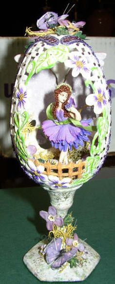 Butterfly Flower Fairy, carved goose eggs, liquid lace, eggart, hand painted dressed fairy doll