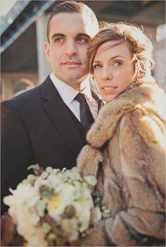 Low Key Brooklyn Wedding photographed by Lev Kuperman Photography Cozy Wedding, Wedding Fur, Wedding Looks, Fall Wedding, Wedding Stuff, Brown Fur Coat, Winter Bride, Winter Weddings, Winter Wonderland Theme