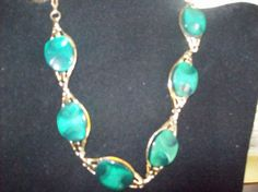 Green with Gold Metal Necklace 1950's by vintagecitypast on Etsy, $8.00