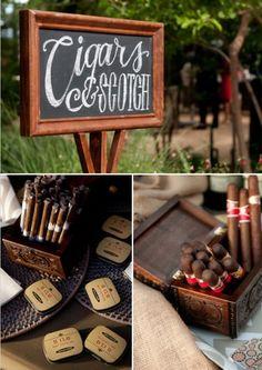 Cigar and scotch bar wedding evening entertainment men boys