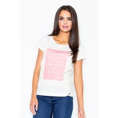 Cotton top with an imprint T Shirts For Women, Clothes For Women, Fashion Addict, Amazing Women, Fashion Photography, V Neck, Street Style, Womens Fashion, Cotton