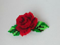 Hama mini red rose flower barrette, hair clip by Alsterbead