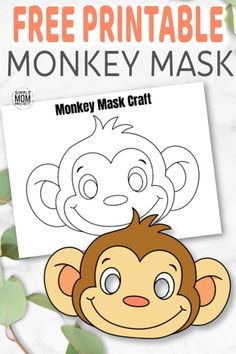 Cute Baby Monkey Coloring Page for Kids - Simple Mom Project Animal Mask Templates, Printable Animal Masks, Animal Masks For Kids, Face Masks For Kids, Printable Crafts, Templates Printable Free, Monkey Template, Monkey Coloring Pages, Monkey Mask