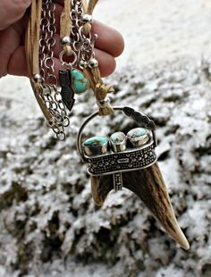 viking warrior necklace. deer antler double tip point sterling silver royston turquoise silversmith artjewelry leather boho bohemian gypsy vikings @mothmetal