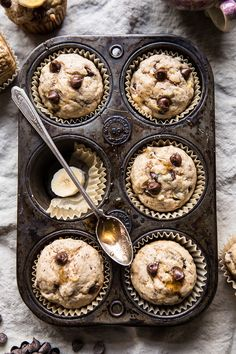 Vegan Whole Wheat Chocolate Chip Banana Bread Muffins | halfbakedharvest.com #vegan #chocolate #muffin #dessert