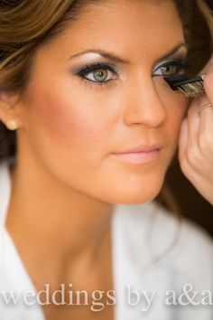 beautiful wedding day bridal makeup and with green eyes :)