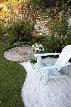 A little bit of beach in your back yard, great idea, and better than those huge sandpits that would turn into the neighborhood litter box