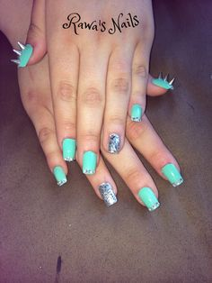 Mint punk rock nail art