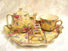 chintz in China and Pottery Vintage Crockery, Antique Dishes, Vintage Tea, Yellow Cups, China Teapot, Breakfast Set, China Tea Sets, Coffee Poster, Tea Accessories