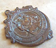$49 Antique French Holy Medal St. Christopher Bronze Pendant Grace Art, Prayer Box, Saint Christopher, Madonna And Child, Bronze Pendant, French Antiques, Solid Gold, Gemstone Jewelry, Jewelry Collection