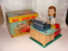 VINTAGE LINEMAR JAPAN 1950s BUSY SECRETARY BATTERY OPERATED TIN TOY BOX!