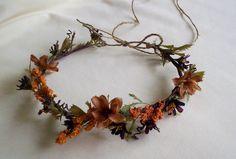 Fall Rustic chic Hair Flower Headwreath Autumn flower crown Woodland Weddings Bridal hairpiece. $36.00, via Etsy.