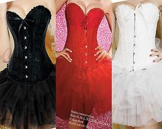 New Ribbon Lace Up Boned Lingerie Corset TOP Bustier & TUTU Skirt Party Dress