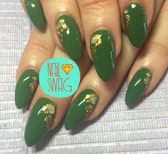 Green and gold almond nails