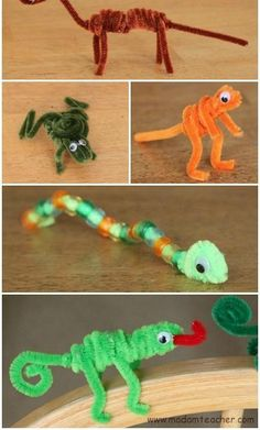 Craft for Kids: Pipe Cleaner Animals Pipe Cleaner Animals Craft for Kids- perfect rainy/snowy day activity with minimal supplies for maximum fun!Pipe Cleaner Animals Craft for Kids- perfect rainy/snowy day activity with minimal supplies for maximum fun! Animal Crafts For Kids, Easy Crafts For Kids, Craft Activities For Kids, Toddler Crafts, Crafts To Do, Diy For Kids, Decor Crafts, Elderly Activities, Dementia Activities
