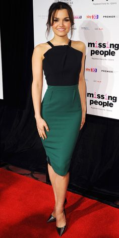 The Les Miserables actress worked her curves in a colorblock Roland Mouret design and added metallic stilettos at the London Critics' Circle Film Awards.