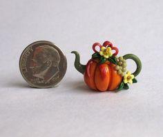 Handmade Miniature HARVEST PUMPKIN BLOSSOM & BOW TEAPOT - by C. Rohal #CRohal