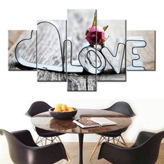 Love Romantic Words wall art Canvas HD Prints Pictures Living Room Wall Art 5 Pieces Painting Restaurant Home Decor Rose Poster canvas by TrapDavinci Love Canvas, Canvas Frame, Canvas Wall Art, Wall Art Prints, Romantic Flowers, Romantic Love, Decor Interior Design, Interior Decorating, Love Frames